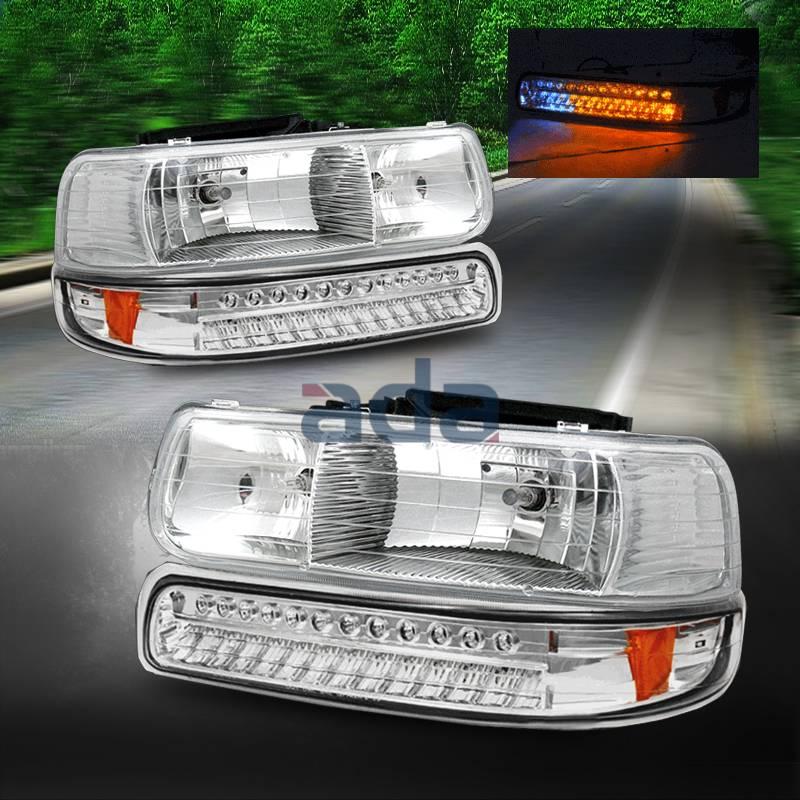 1999 2002 chevy silverado 00 06 tahoe suburban headlights led signal bumper l ebay