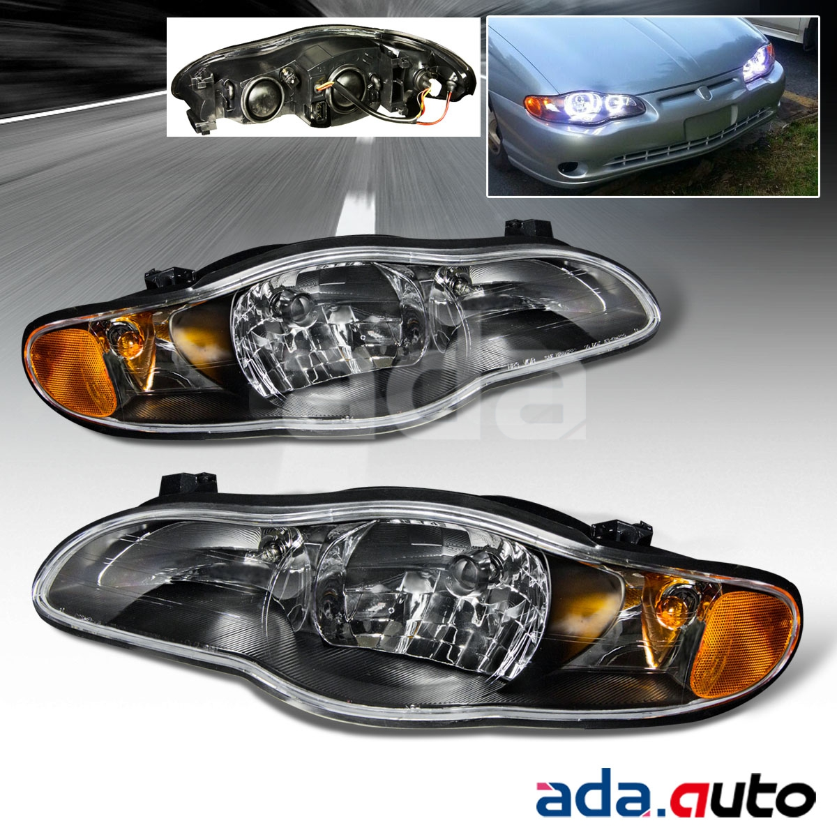 For 2000-2005 Chevy Monte Carlo/SS Black Headlights