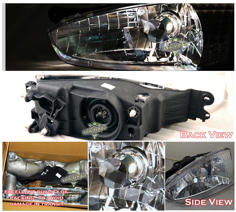 1997-2002 Mitsubishi Mirage Coupe Chrome Headlights + LED Fog Lamps ...