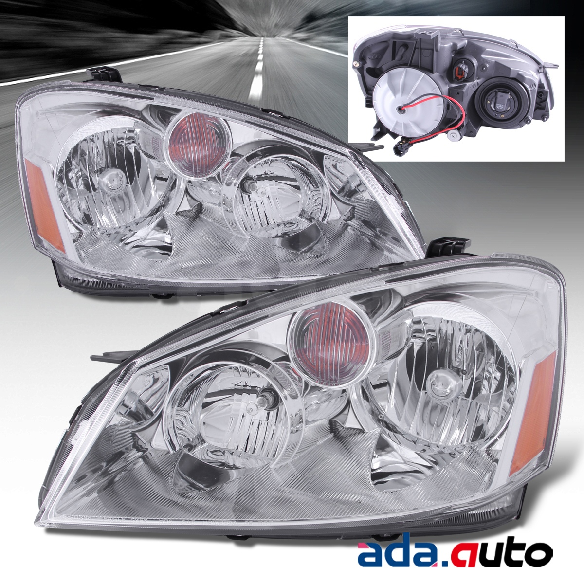 Headlights For 2006 Nissan Altima: For 2005-2006 Nissan Altima Chrome Headlights+LED DRL Fog