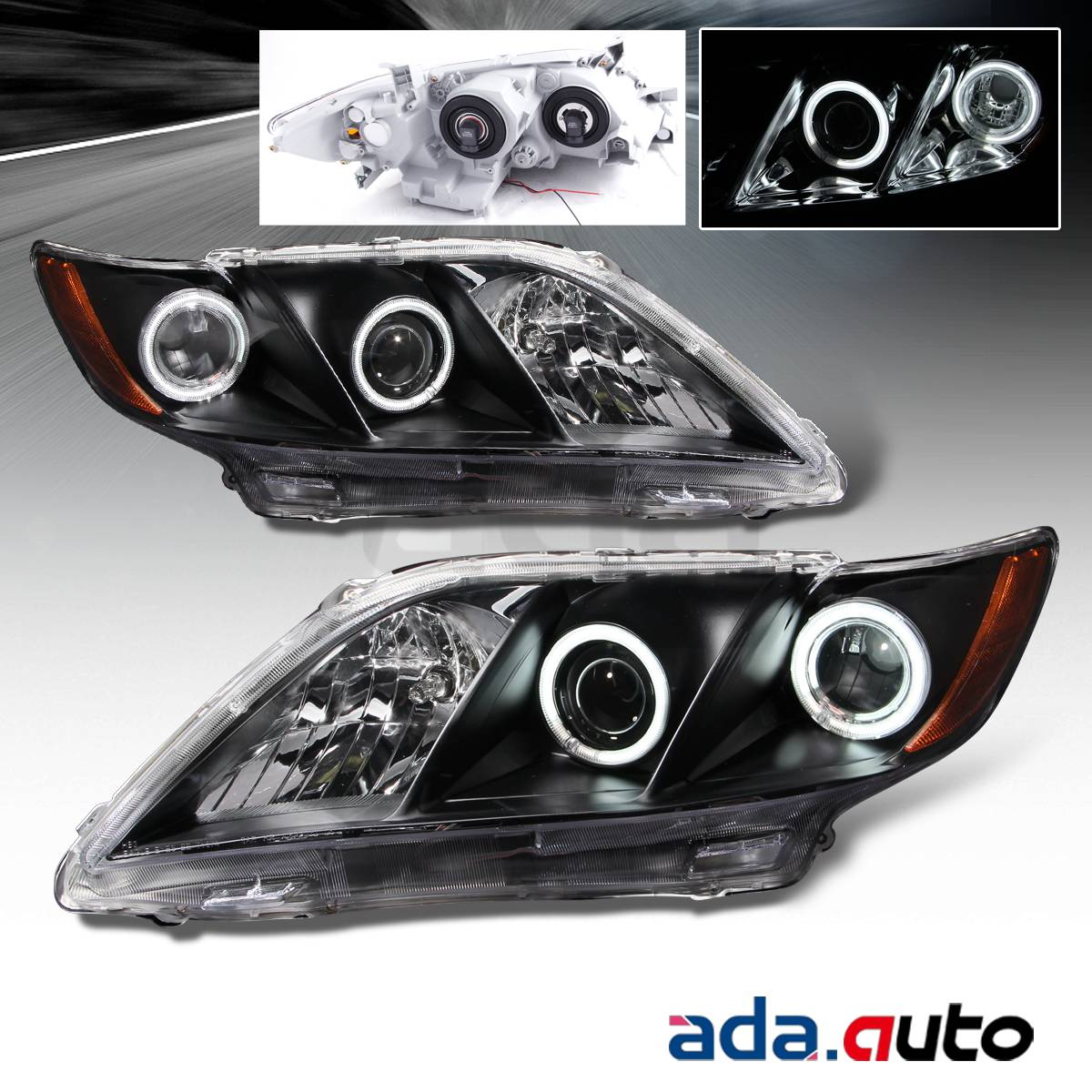 2007 2008 2009 toyota camry dual ccfl halo projector black headlights set. Black Bedroom Furniture Sets. Home Design Ideas