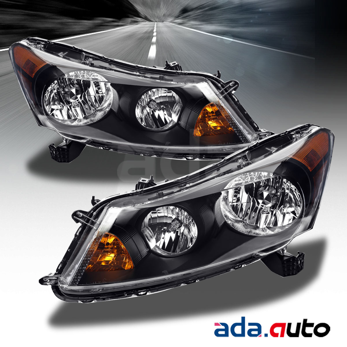 2008 2012 Honda Accord 4dr Sedan Black Headlights