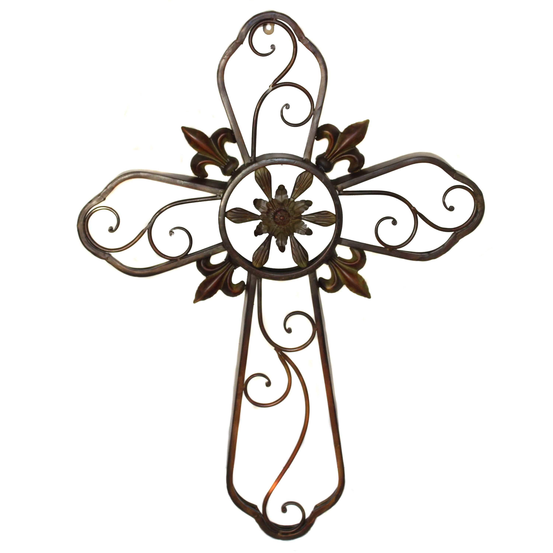 Hanging Wall Cross Fleur De Lis Metal Wall Decor Sculpture