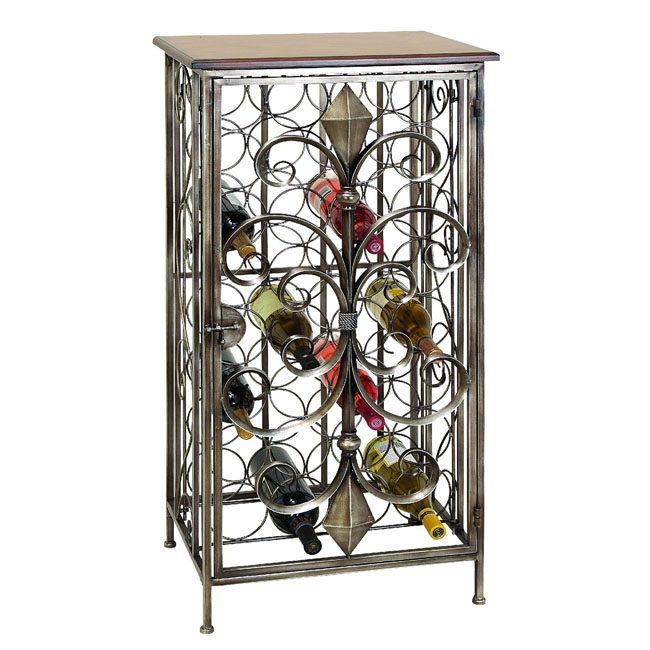 Casa cortes wrought iron 32 bottles wine holder rack ebay - Wine racks wrought iron floor standing ...