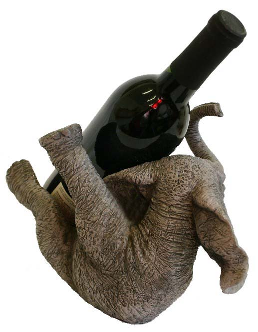 Big happy elephant hand finished wine bottle holder with - Elephant wine bottle holder ...