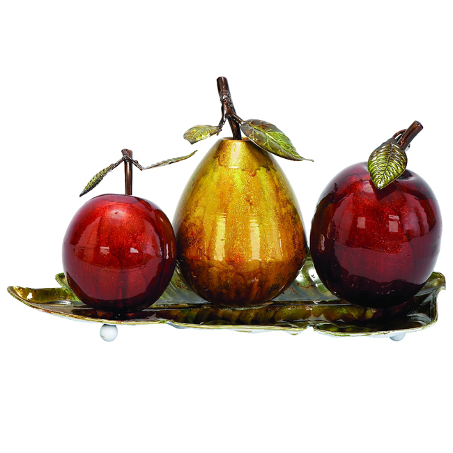 Casa cortes glazed metal artificial fruit centerpiece for Artificial pears decoration