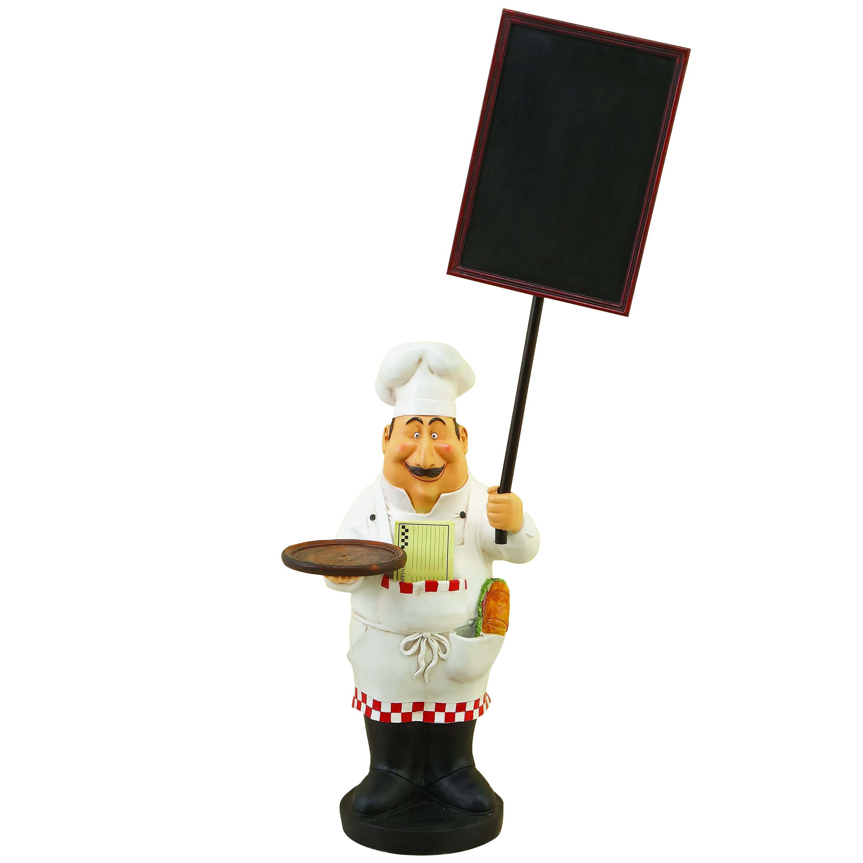 Large french chef figurine with welcome chalkboard kitchen