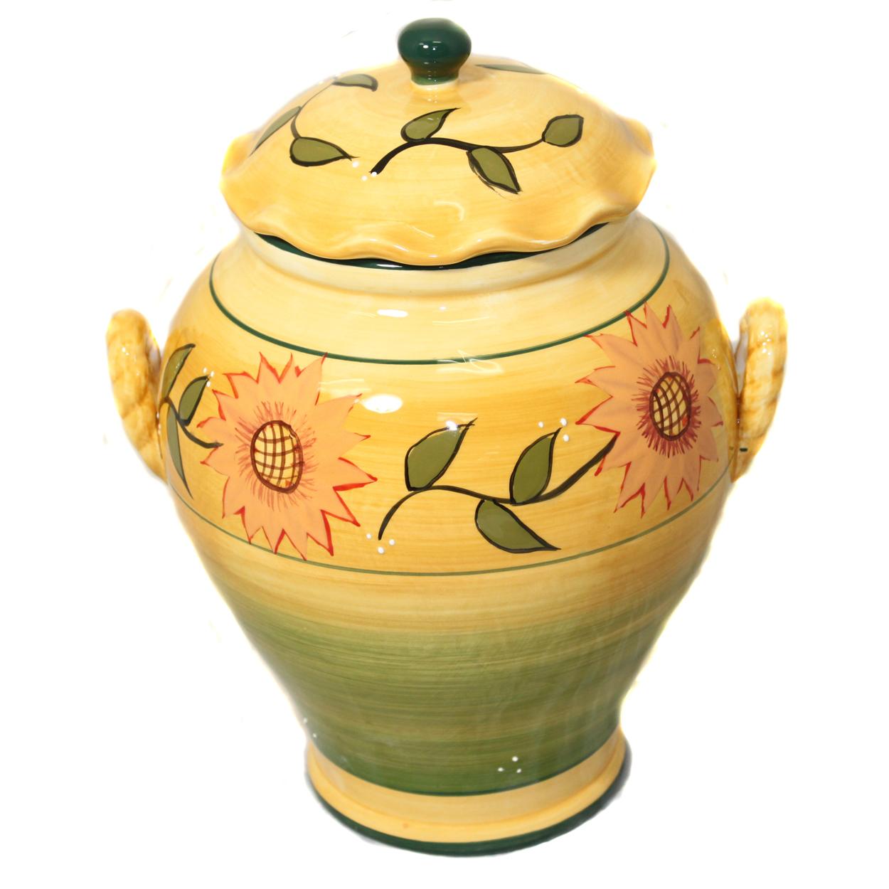 ecworld Sunflower Garden Hand-Painted Cookie Jar