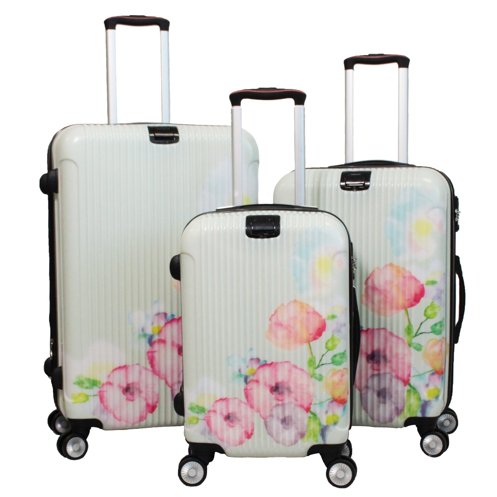 Travel well with your essentials neatly stowed in the colorful Rockland Luggage 3 Piece Carnival Hardside Spinner Set. This sturdy yet lightweight set is composed of ABS polycarbonate and designed to absorb impact and flex back to its original skuzcalsase.ml: $
