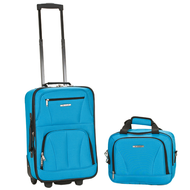 Rockland 2 Piece Upright Carry On & Tote Luggage Set   Turquoise $80