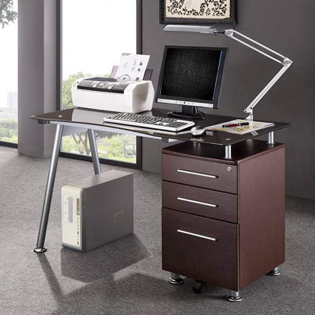 Deluxe Tempered Glass Top Ergonomic Computer Desk With