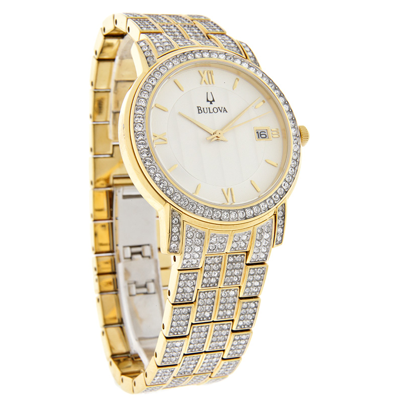Bulova Quartz Mens Gold Tone Crystal Bracelet Dress Watch