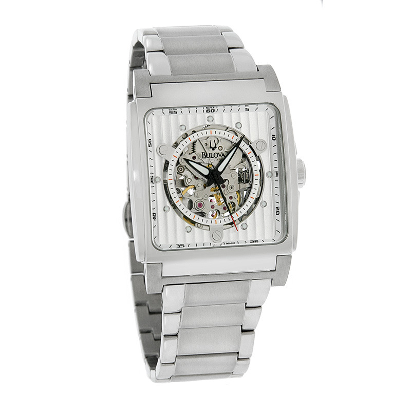 bulova mens silver skeleton stainless steel automatic