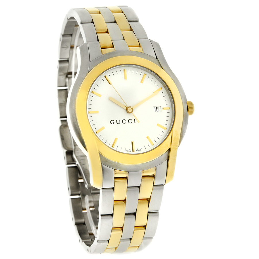 gucci 5500 xl series mens white dial two tone dress swiss