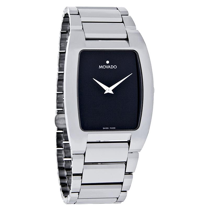 movado wristwatches movado fiero mens platinum tungsten carbide black dial swiss watch 0605621