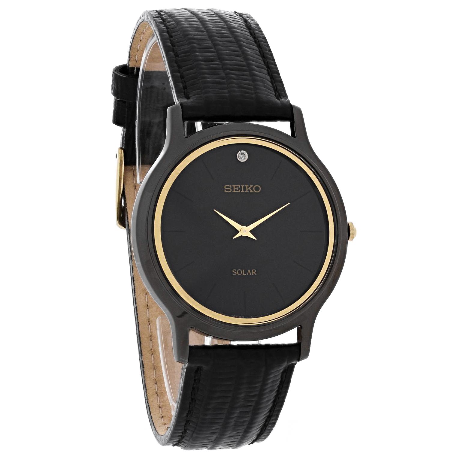 Seiko solar mens diamond black ion leather strap watch sup875 ebay for Black leather strap men