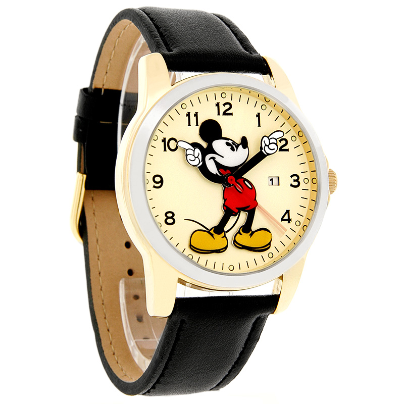 disney mickey mouse mens motion hands two tone black leather band watch mck647 ebay