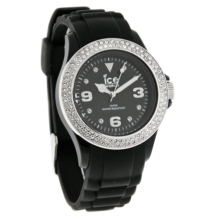 Ice-Watch-Ladies-Crystal-Black-Dial-Rubber-Strap-Quartz ...