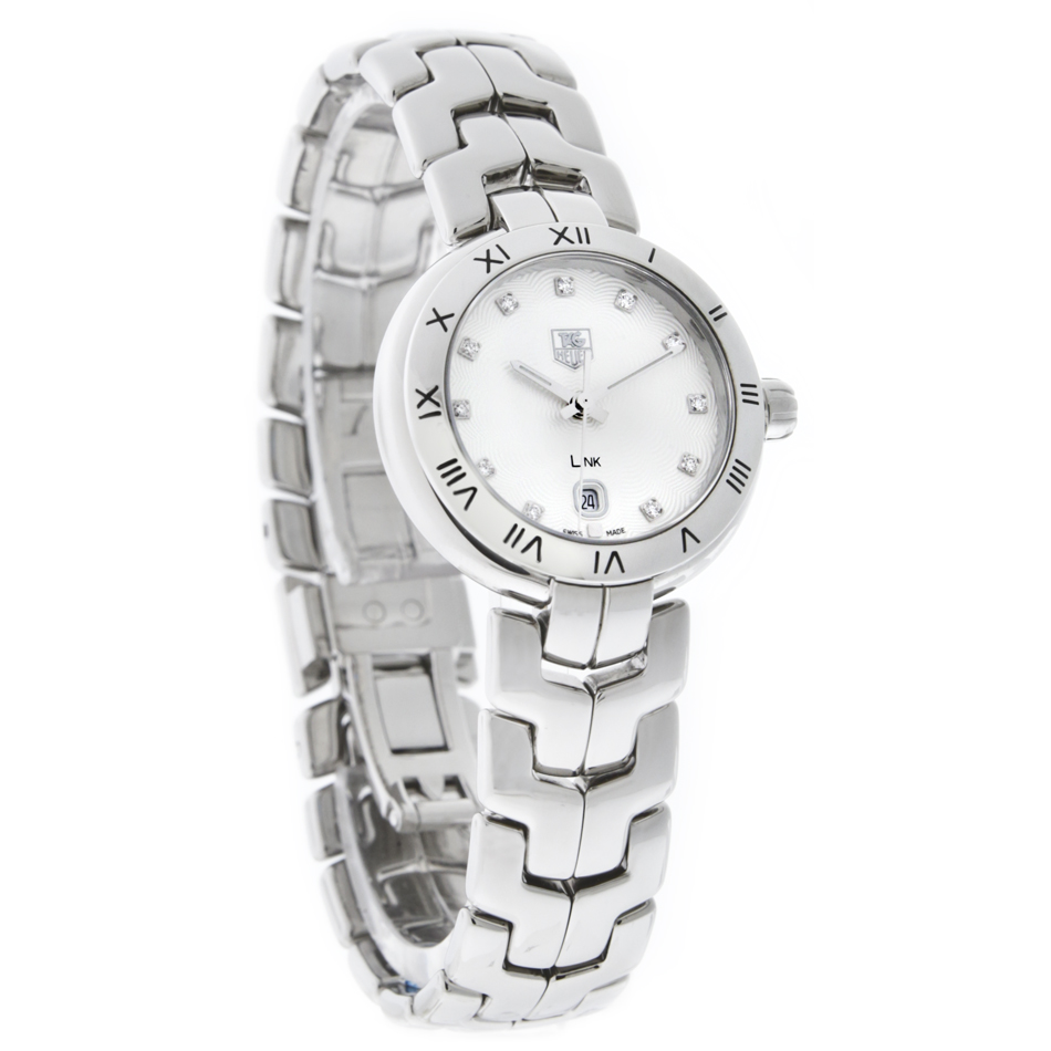 Tag heuer link ladies diamond white swiss quartz dress watch wat1411 ba0954 760643147639 ebay for Tag heuer d link