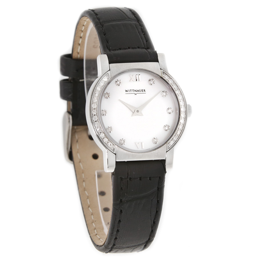 Wittnauer Orpheum Diamond Ladies Mop Black Leather Swiss