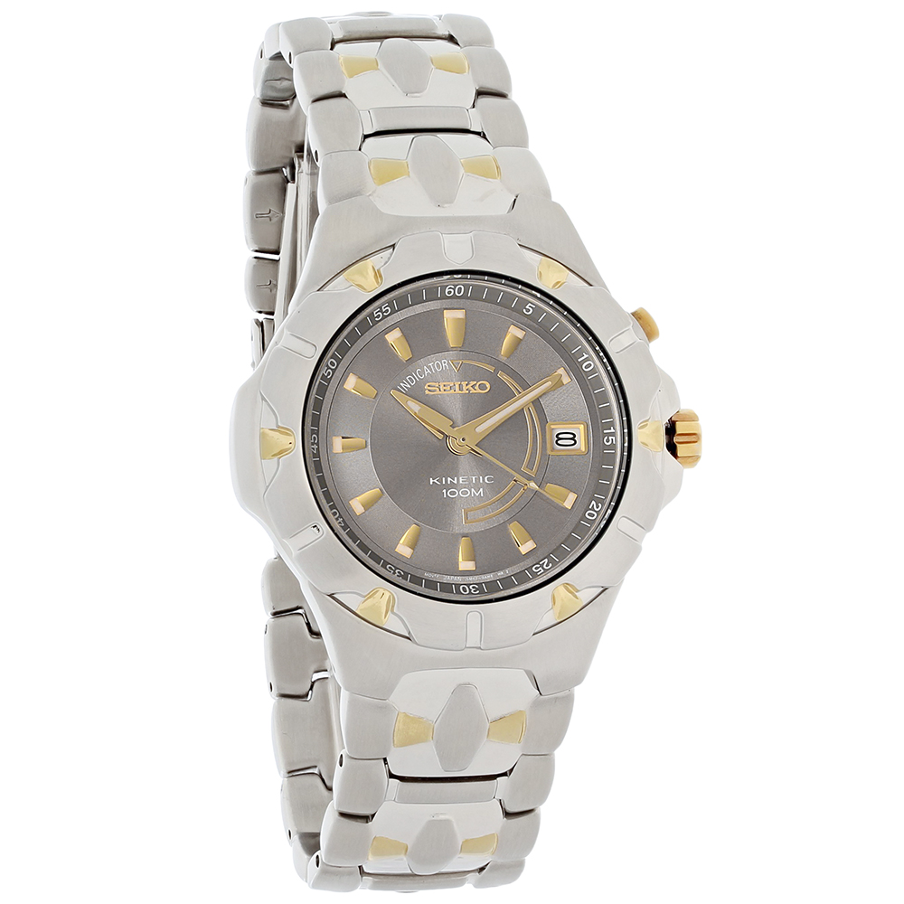 Seiko kinetic mens two tone stainless steel sport watch ska192 722630837718 ebay for Movado kinetic