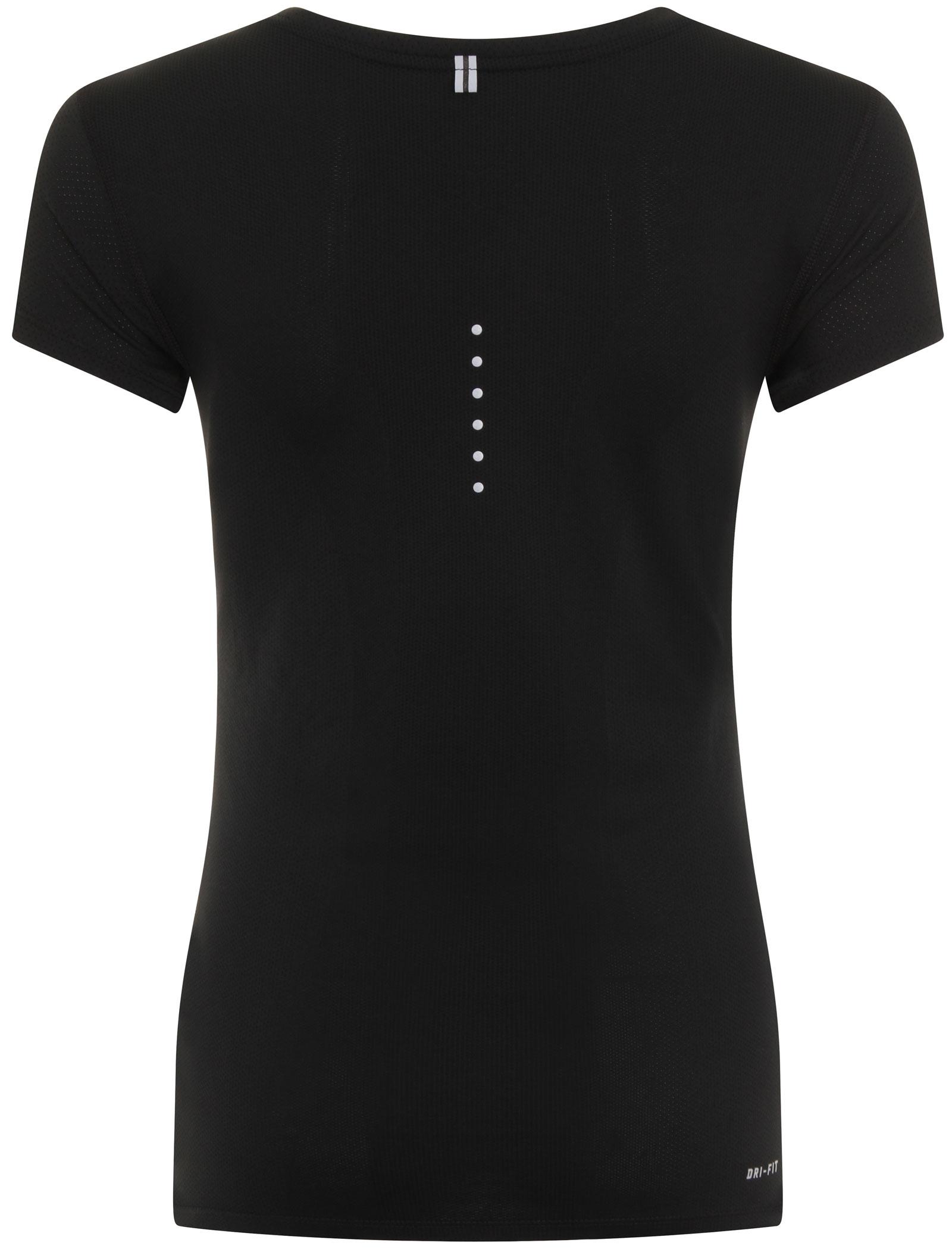 New nike dri fit contour black womens running t shirt for Nike dri fit t shirt ladies