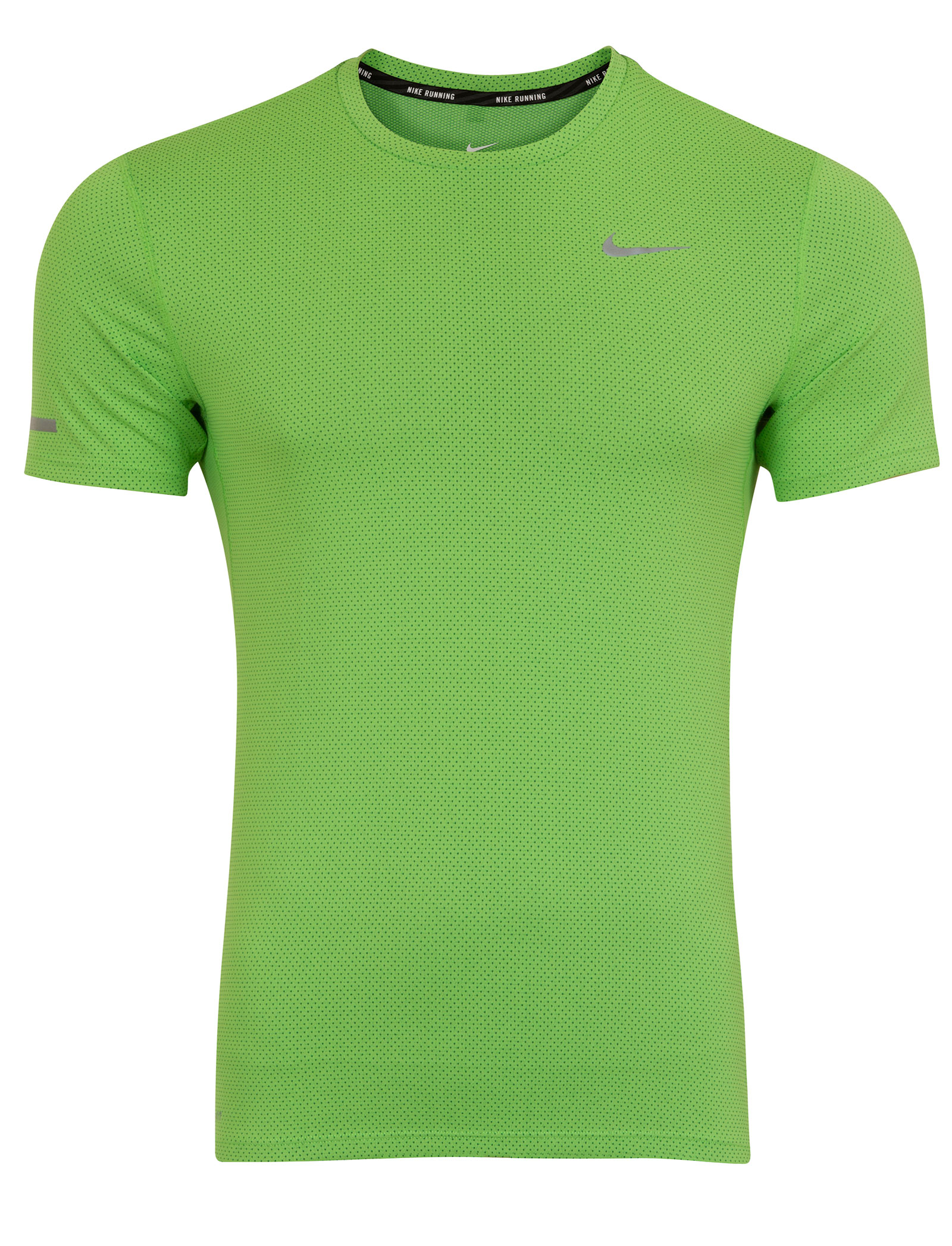 Nike dri fit contour lime green mens running short sleeve for Best athletic dress shirts