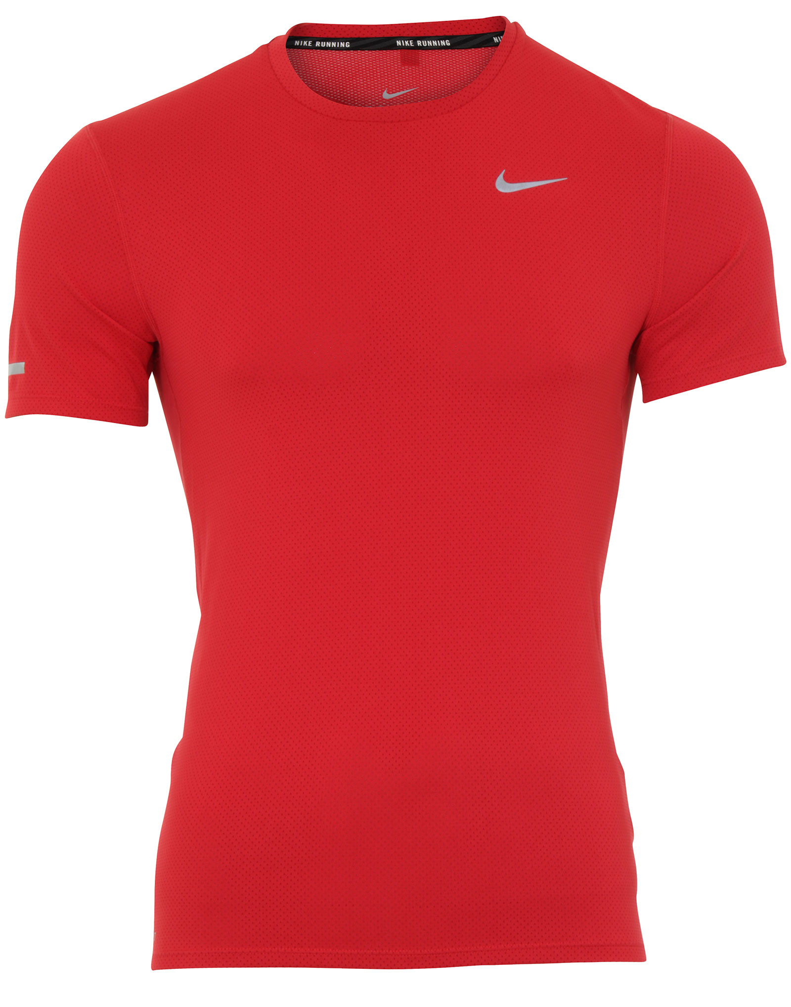 New Nike Dri Fit Contour Red Mens Running Short Sleeve Top