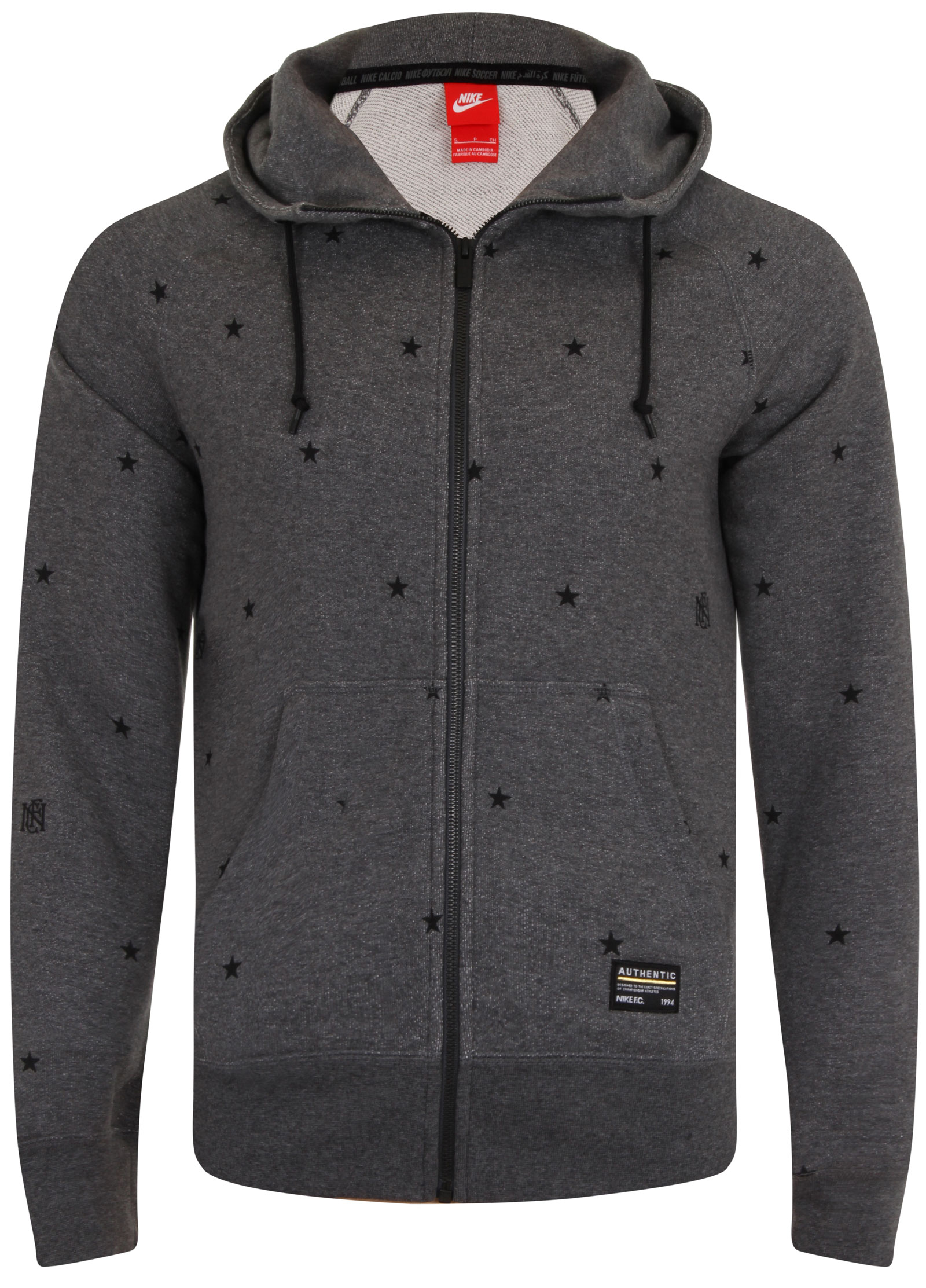 new nike aw77 fc star print mens zip up hoodie hoody all. Black Bedroom Furniture Sets. Home Design Ideas