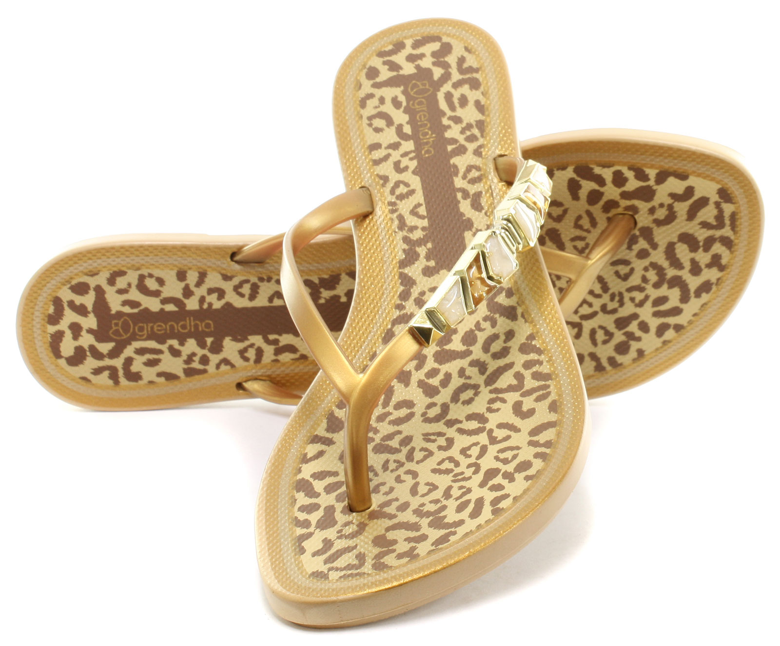 Nuevo Grendha Brasil Joya II Tanga oro flip flop para mujer Talla UK 6 (UE 39)