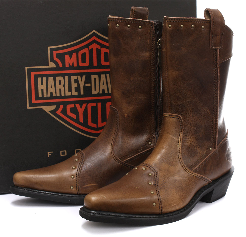 Unique NEW HarleyDavidson Women39s CHRISTA Black Leather Motorcycle Boots