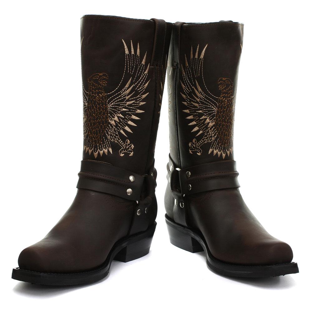 Chaussure Montante Homme Botte Cowboy Rangers Marron Aigle Pygargue