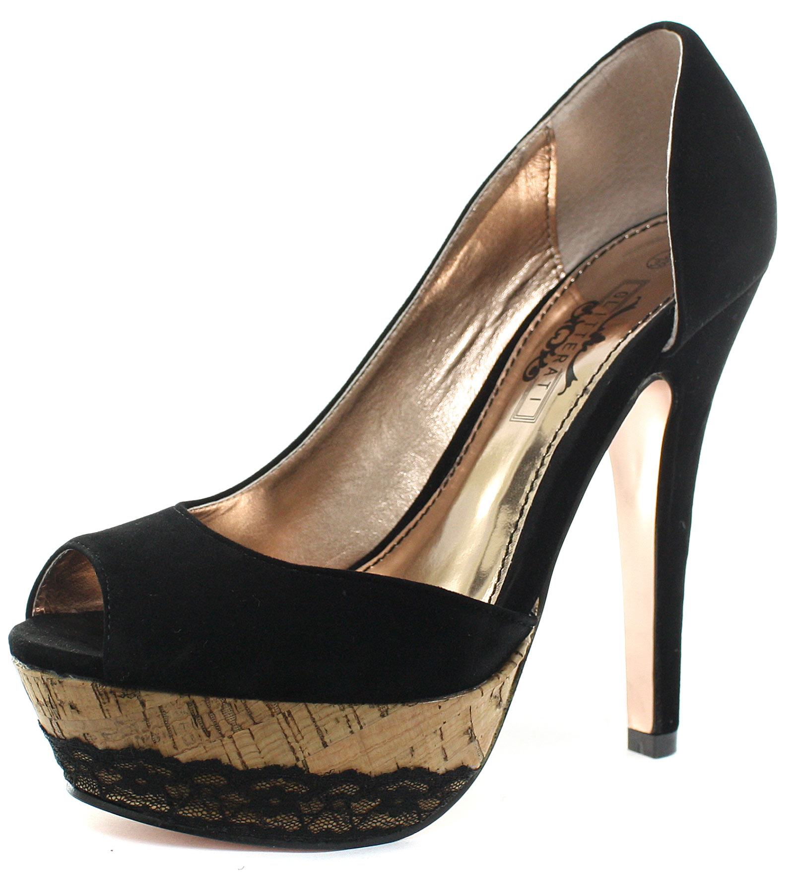Glitterati black velvet cork lace trim platform womens peep toe heels