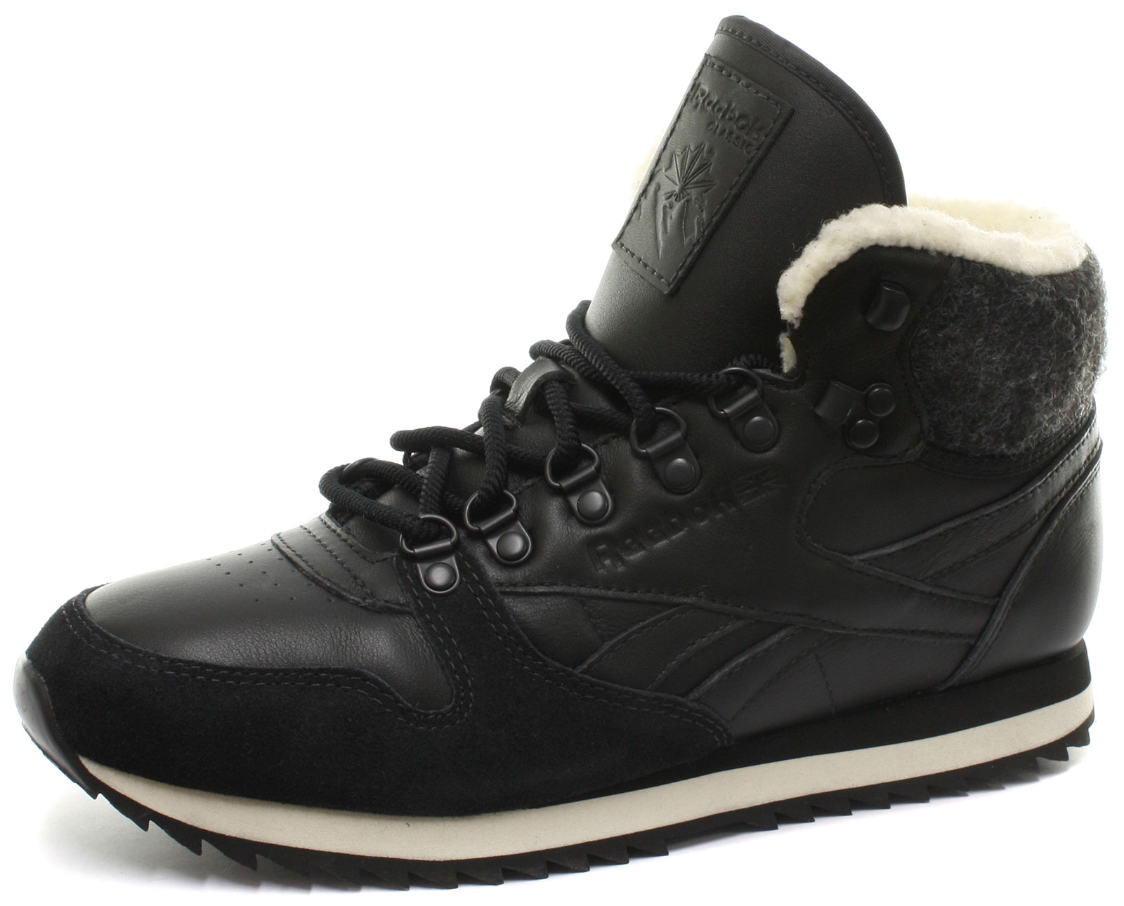 reebok classic leather mid black