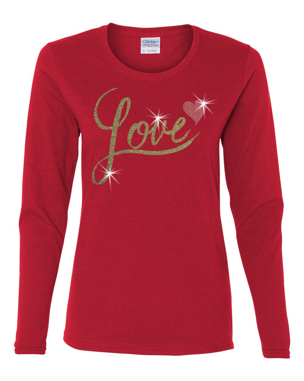 Valentine Gold Glitter Love Red Heart Womens Long Sleeve T