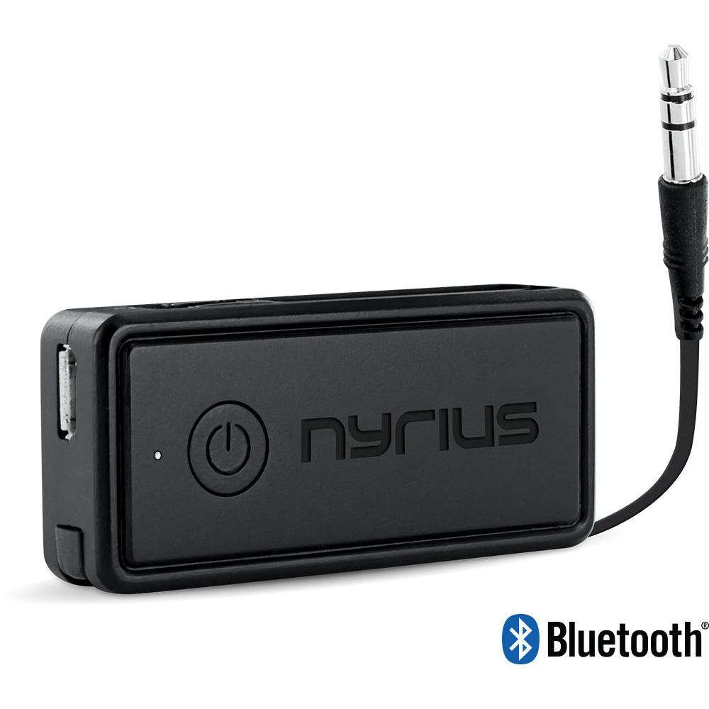 Make your music listening experience more enjoyable with Songo Portable by Nyrius. This compact Bluetooth music receiver allows you to conveniently stream your music playlist wirelessly from your smartphone or tablet to your car stereo~ speaker system~ and even add Bluetooth capabilities to your fav