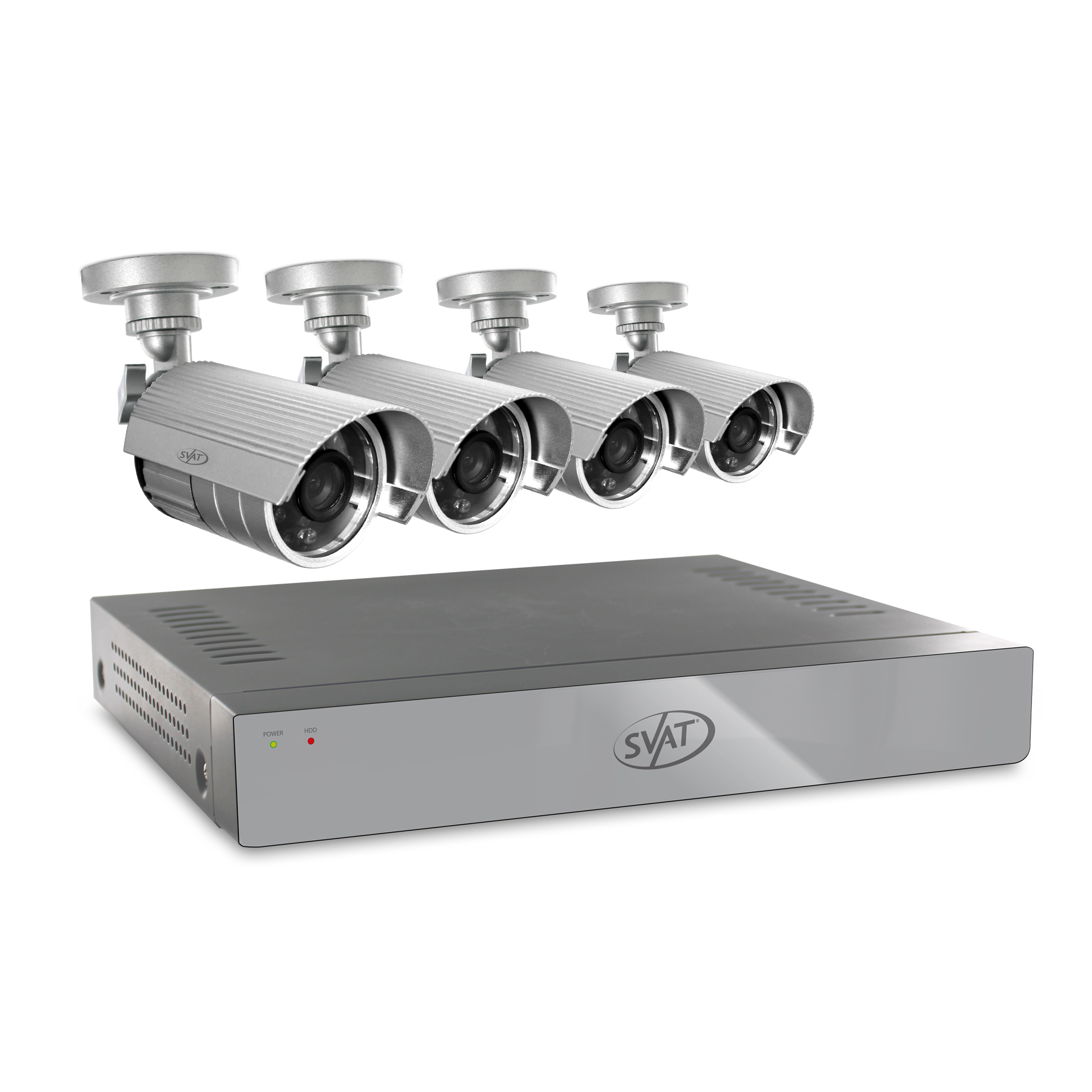 11020 - SVAT 4CH Smart Security DVR w/ 4 Outdoor 75ft Night Vision Cameras 500GB HDD
