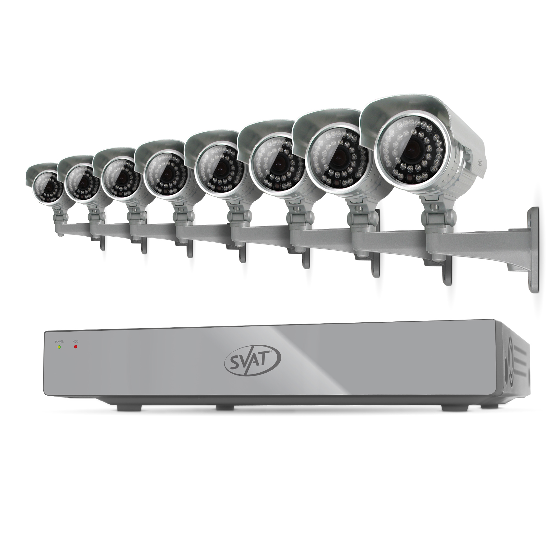 11025 - SVAT 8CH Smart Security DVR w/ 8 Hi-Res 100ft Cameras w/ IR Cut Filter 500GB HDD