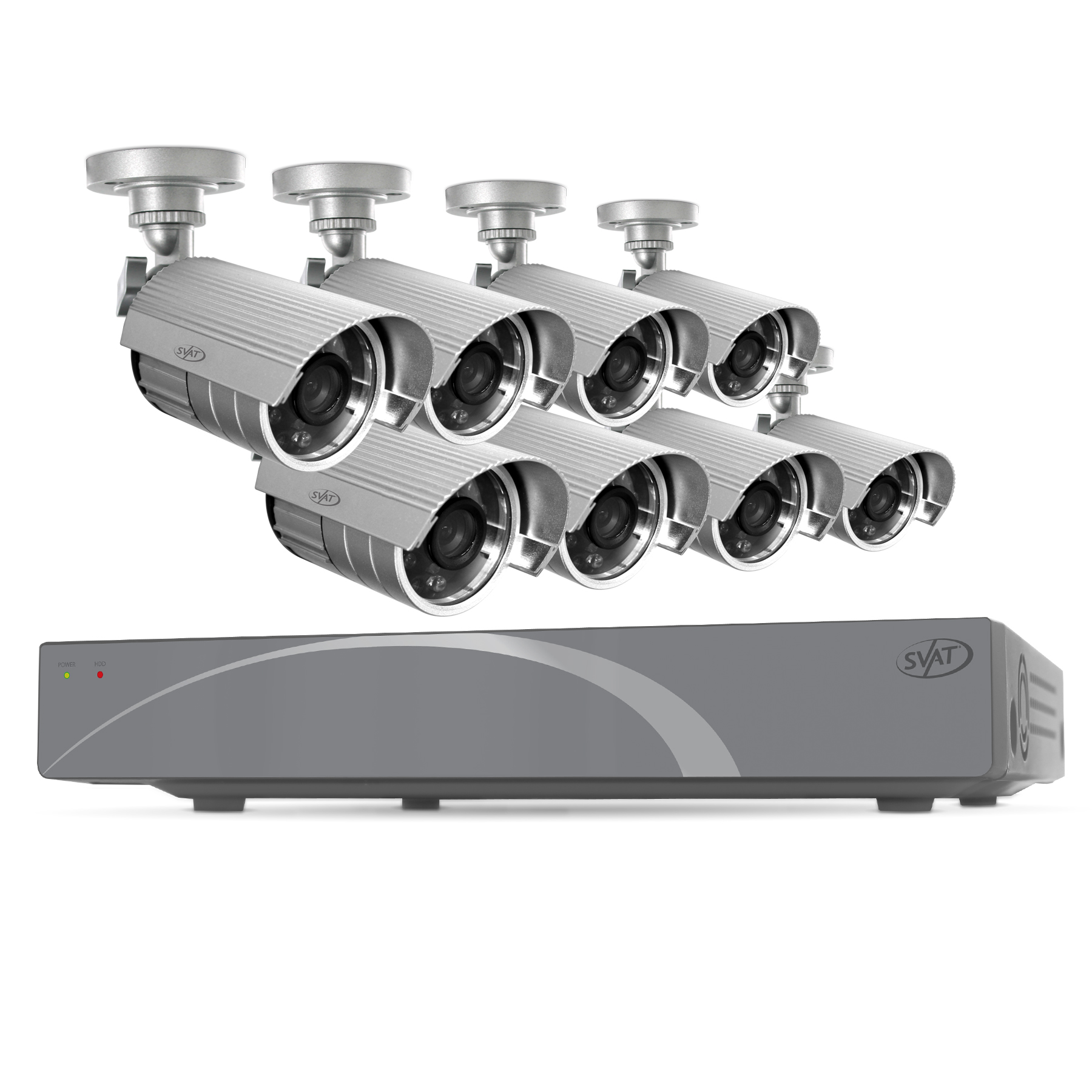 11029 - SVAT 8CH Smart Security DVR with 8 Hi-Res 75ft Cameras 500 GB HDD - 11029