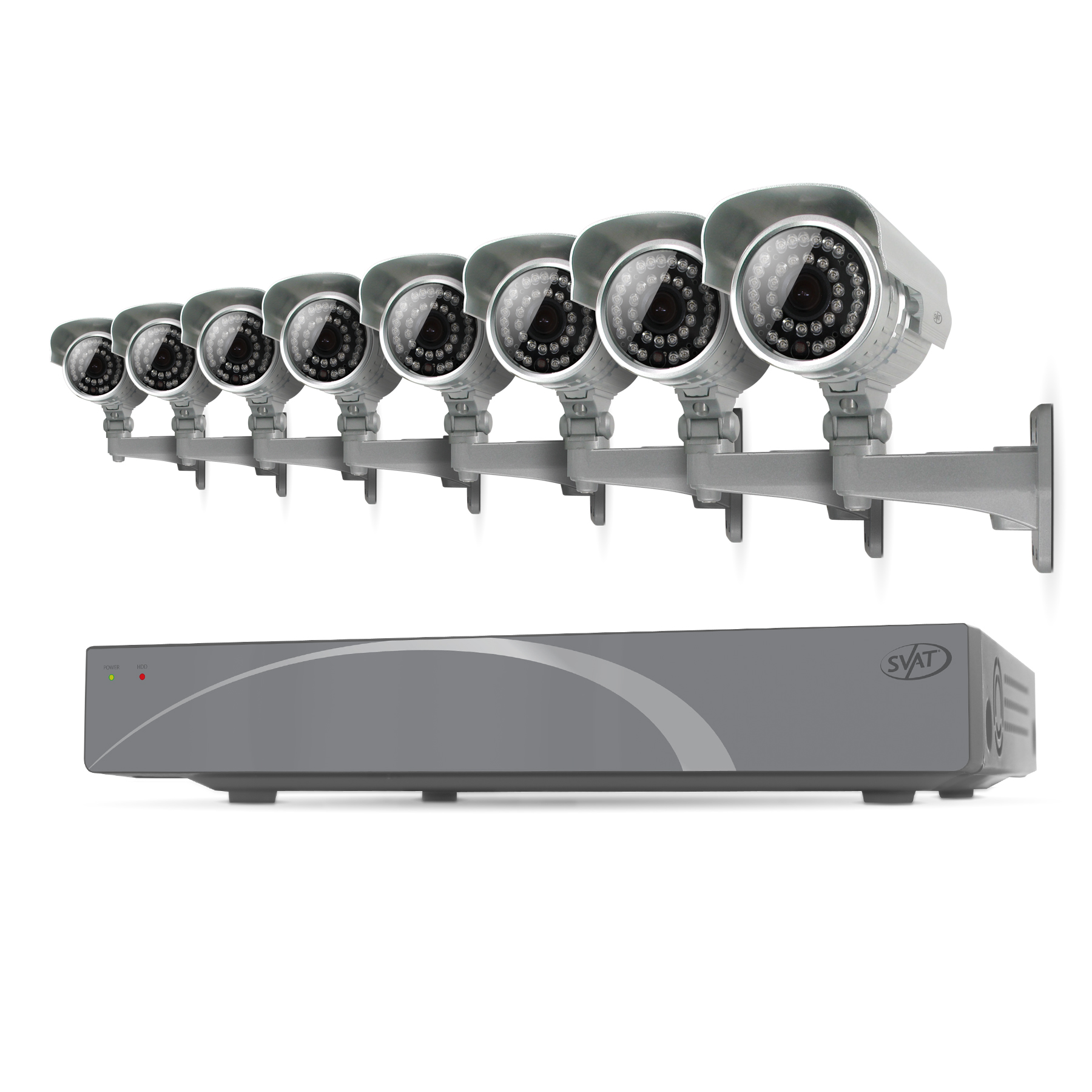 11031 - SVAT 8CH Smart Security DVR with 8 100ft Night Vision Cameras 500 GB - 11031