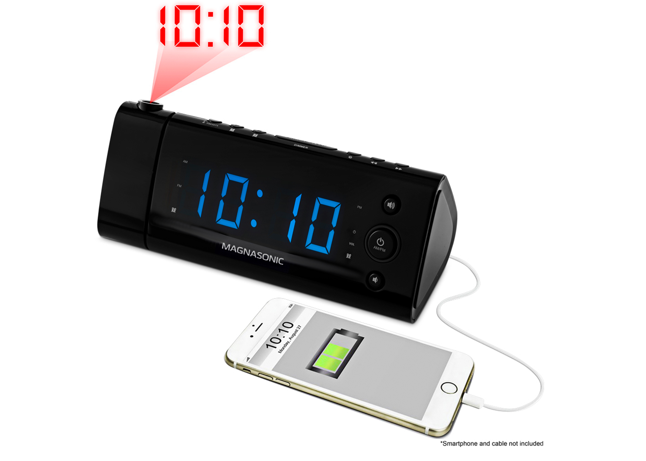 Electrohome USB Charging Alarm Clock Radio with Time Projection, Battery Backup, Auto Time Set, Dual Alarm, 1.2? LED at Sears.com