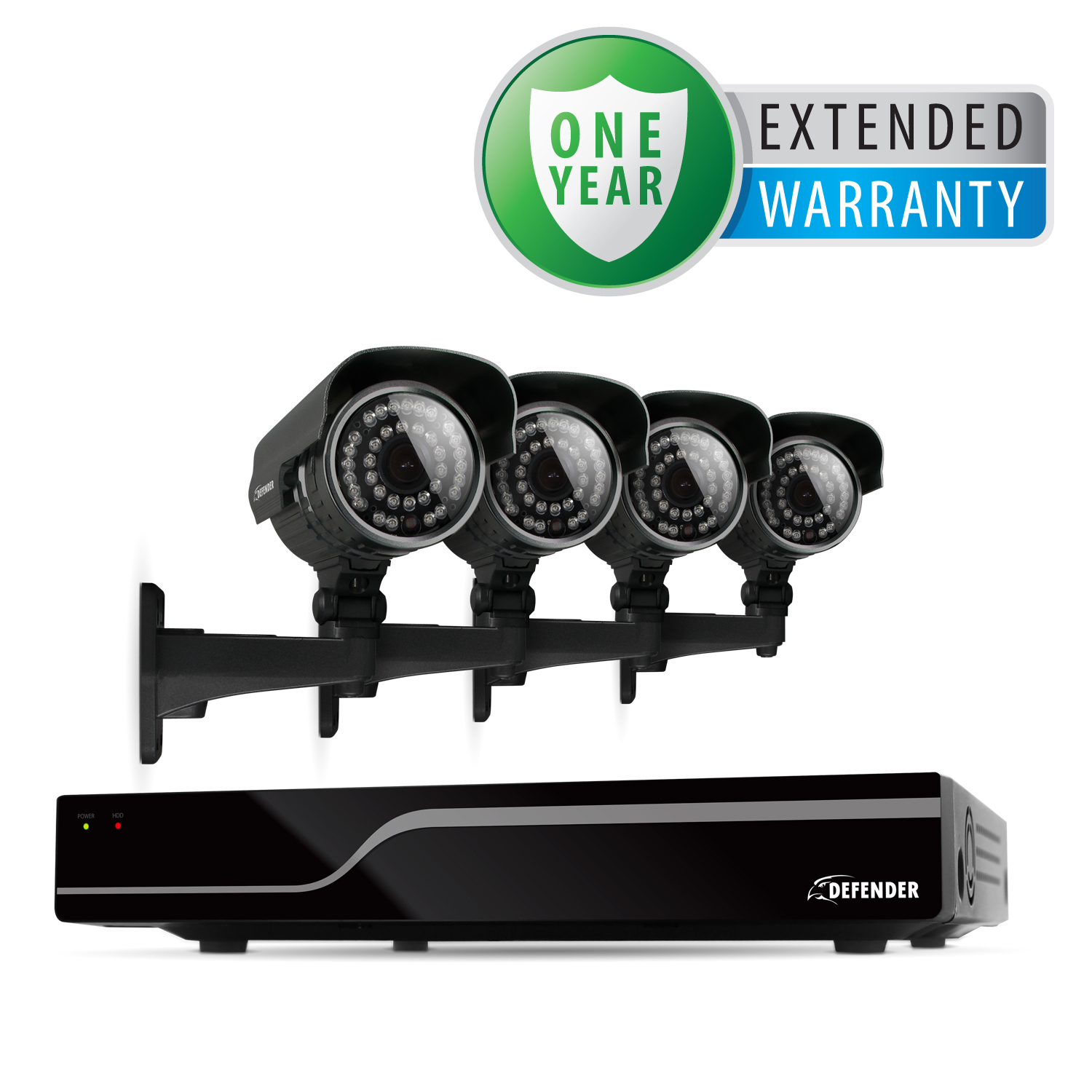 Defender 4CH H.265 500GB Security DVR w/ 4 x 600TVL Cameras & 1 Year Extended Warranty - 21027 at Sears.com