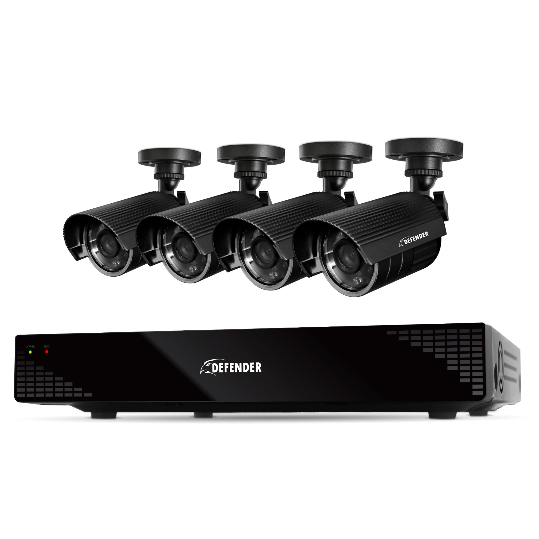 21032 - Defender Scout 4CH H.265 Smart Security DVR with 4 x 480TVL 75ft Cameras - 21032