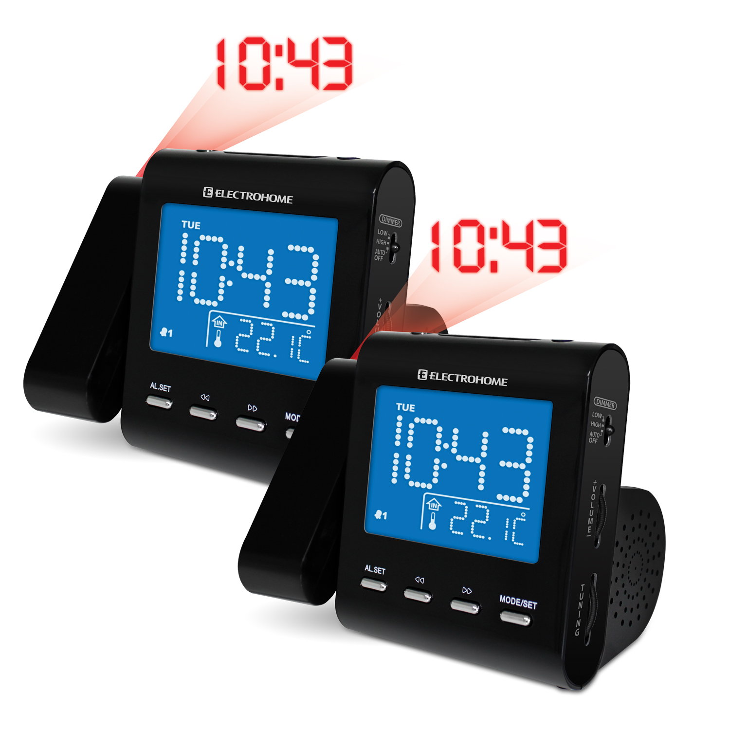 Electrohome EAAC600 AM/FM Projection Clock Radio with Dual Alarm - 2 Clock Radios Included at Sears.com