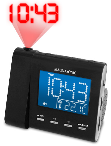 Magnasonic MAG-MM176K AM/FM Projection Clock Radio with Dual Alarm & Auto Time Set/Restore at Sears.com