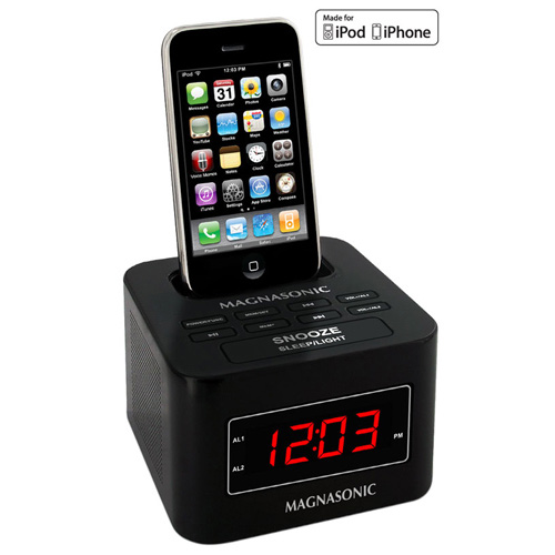 digital fm alarm clock radio speaker ipod iphone dock dual alarm auto. Black Bedroom Furniture Sets. Home Design Ideas