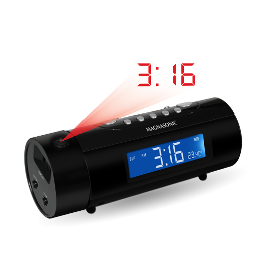 click for Full Info on this Magnasonic MAG MM178K AM/FM Radio w/ Dual Alarm  Auto Time Set/Restore Temp Display   Battery Backup