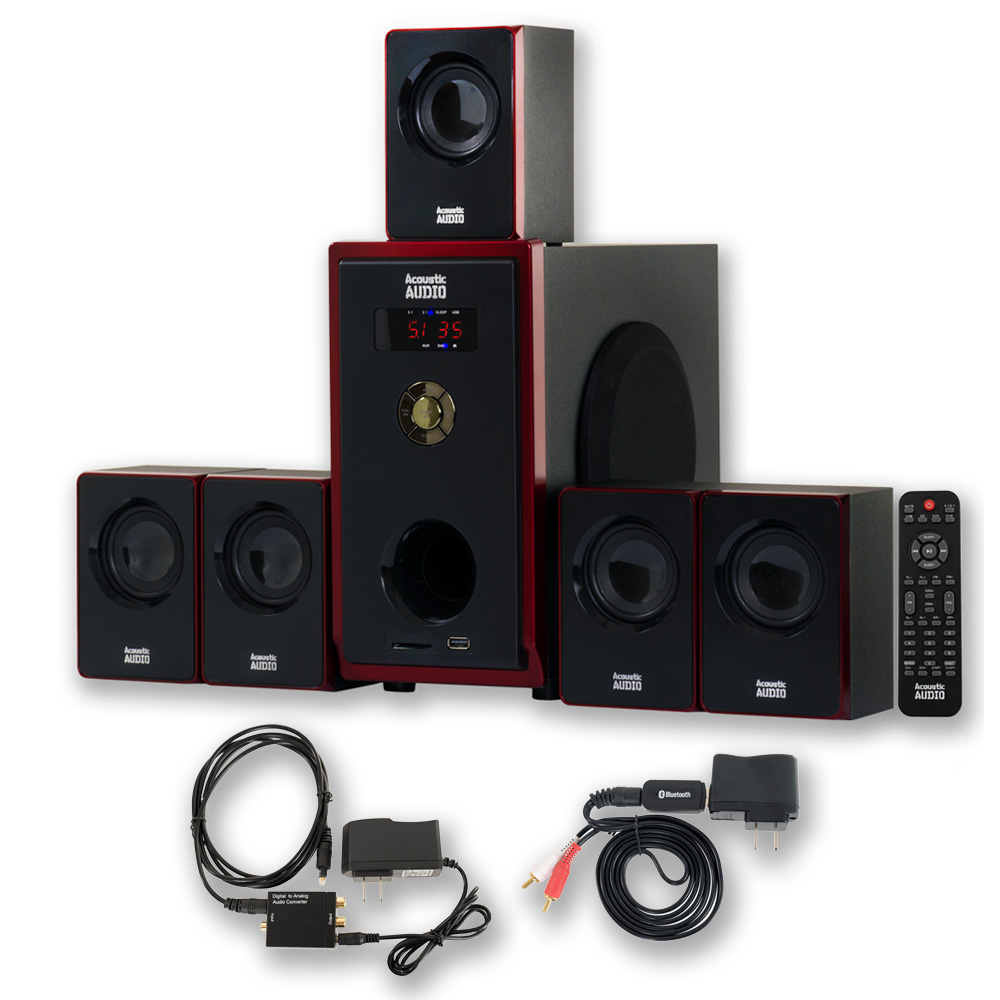 acoustic audio aa5103 home 5 1 speaker system with bluetooth and optical input ebay. Black Bedroom Furniture Sets. Home Design Ideas