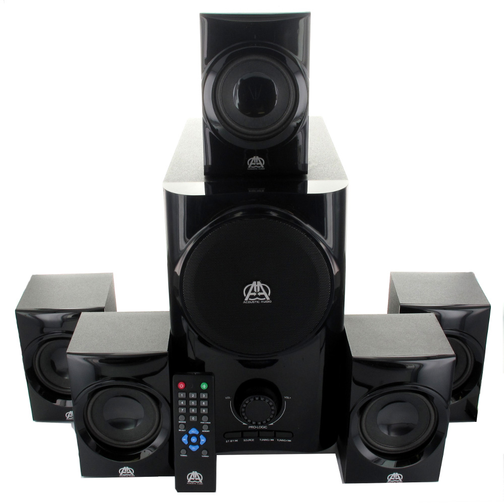 Acoustic Audio AA5160 Home Theater 5.1 Speaker System 500W w/ Bluetooth Powered Sub & 2 Ext Cables AA5160B-2 at Sears.com