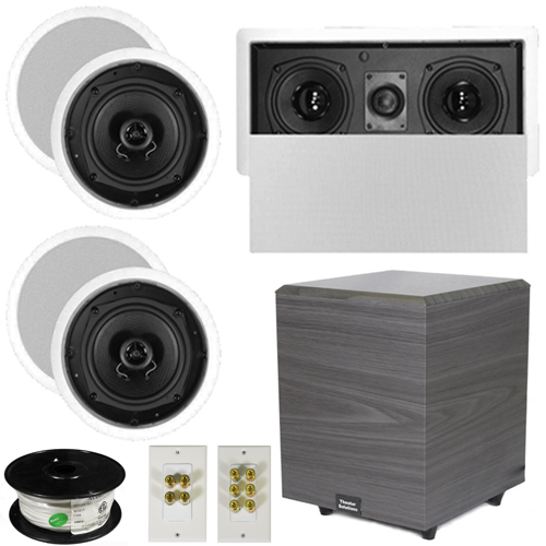 "Theater Solutions 5.1 Home Audio Speakers 4 Speakers, 1 Center, 8"" Powered Sub and More TS50CL51SET2 at Sears.com"
